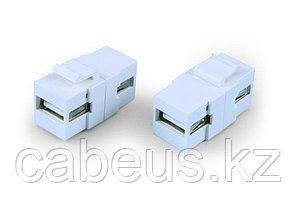 Hyperline KJ1-USB-A2-WH Вставка формата Keystone Jack с проходным адаптером USB 2.0 (Type A), ROHS, белая