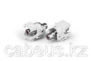 Hyperline KJ1-RCA/RD-D-WH Вставка формата Keystone Jack с проходным адаптером RCA (красный), D type, ROHS,