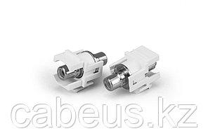 Hyperline KJ1-RCA/BL-D-WH Вставка формата Keystone Jack с проходным адаптером RCA (синий), D type, ROHS, белая