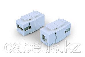 Hyperline KJ1-USB-A-B2-WH Вставка формата Keystone Jack с проходным адаптером USB 2.0 (Type A-B), ROHS, белая