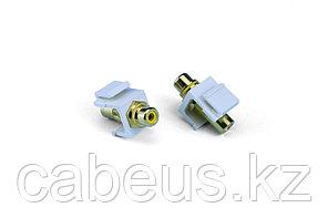 Hyperline KJ1-RCA/YL-HG-WH Вставка формата Keystone Jack с проходным адаптером RCA (желтый), Hex. type, gold