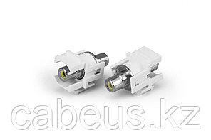 Hyperline KJ1-RCA/YL-D-WH Вставка формата Keystone Jack с проходным адаптером RCA (желтый), D type, ROHS,