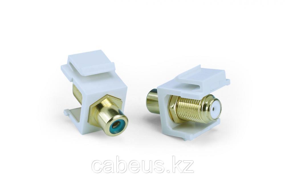 Hyperline KJ1-RCA/GN-FHG-WH Вставка формата Keystone Jack, F-type / RCA зеленый (IN/OUT), gold plated, ROHS,