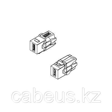 Hyperline KJ1-USB-VA3-WH Вставка формата Keystone Jack с проходным адаптером USB 3.0 (Type A), 90 градусов,