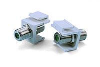 Hyperline KJ1-FCON-3G-N-WH Вставка формата Keystone Jack с проходным адаптером F-типа, nickel plated, 3ГГц,, фото 1