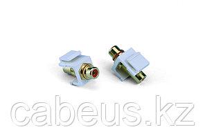 Hyperline KJ1-RCA/RD-HG-WH Вставка формата Keystone Jack с проходным адаптером RCA (красный), Hex. type, gold