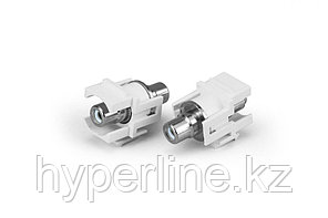 Hyperline KJ1-RCA/WH-D-WH Вставка формата Keystone Jack с проходным адаптером RCA (белый), D type, ROHS, белая