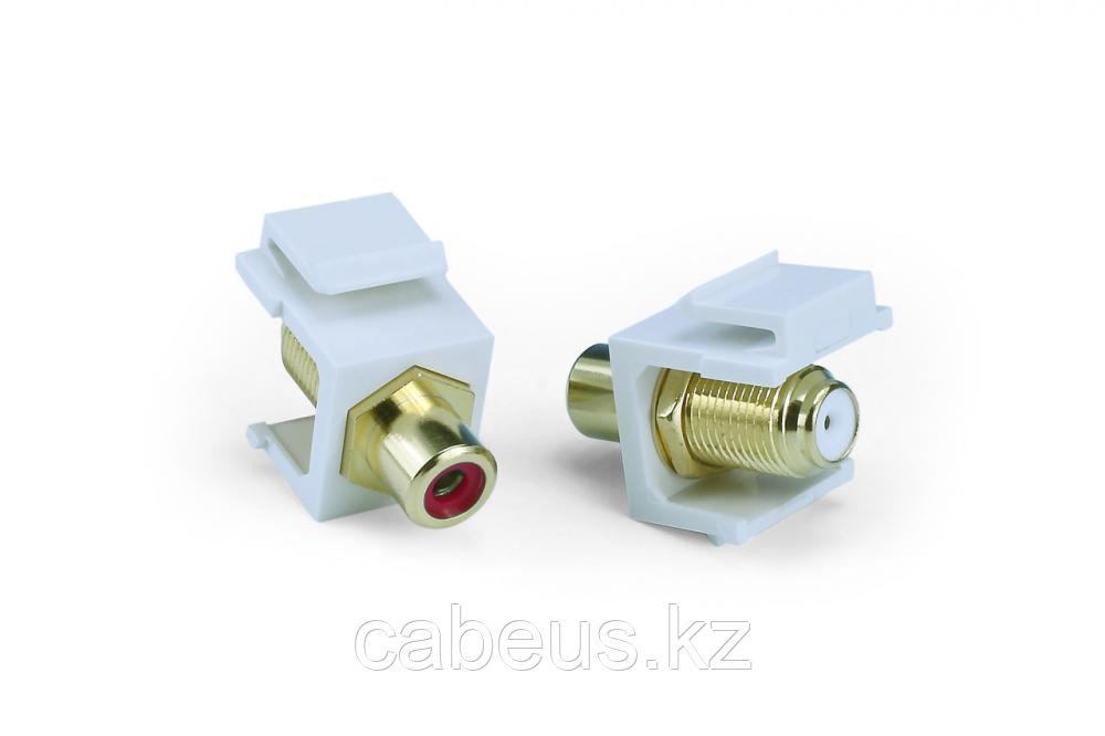 Hyperline KJ1-RCA/RD-FHG-WH Вставка формата Keystone Jack, F-type / RCA красный (IN/OUT), gold plated, ROHS,