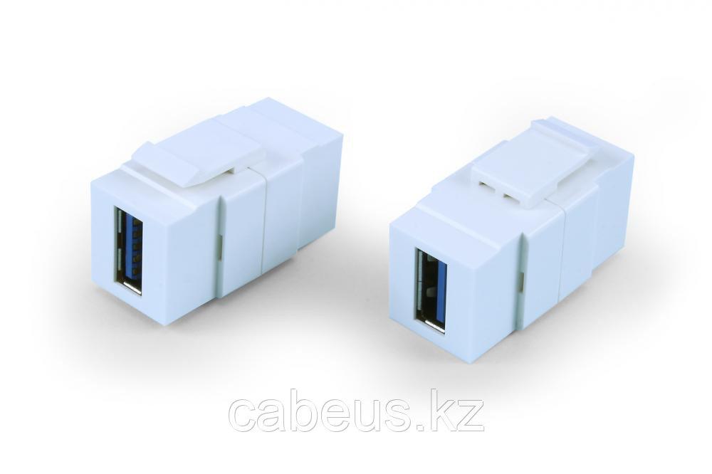 Hyperline KJ1-USB-A3-WH Вставка формата Keystone Jack с проходным адаптером USB 3.0 (Type A), ROHS, белая