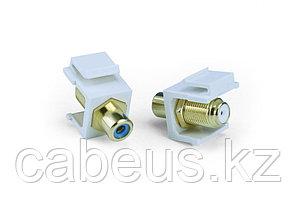 Hyperline KJ1-RCA/BL-FHG-WH Вставка формата Keystone Jack, F-type / RCA синий (IN/OUT), gold plated, ROHS,