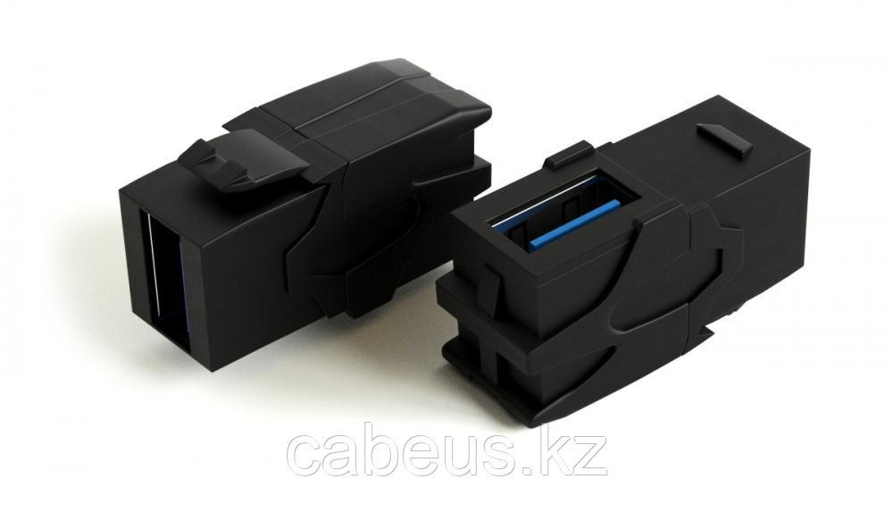 Hyperline KJ1-USB-VA3-BK Вставка формата Keystone Jack с проходным адаптером USB 3.0 (Type A), 90 градусов,