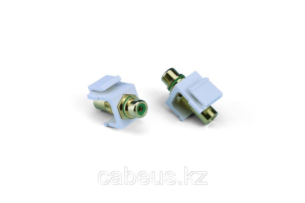 Hyperline KJ1-RCA/GN-HG-WH Вставка формата Keystone Jack с проходным адаптером RCA (зеленый), Hex. type, gold