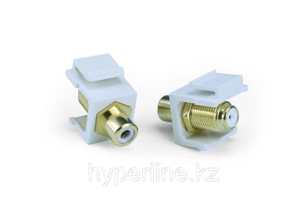 Hyperline KJ1-RCA/WH-FHG-WH Вставка формата Keystone Jack, F-type / RCA белый (IN/OUT), gold plated, ROHS,