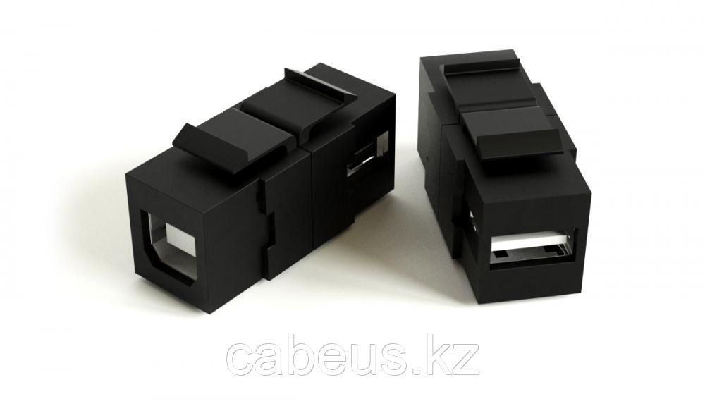 Hyperline KJ1-USB-A-B2-BK Вставка формата Keystone Jack с проходным адаптером USB 2.0 (Type A-B), ROHS, черная