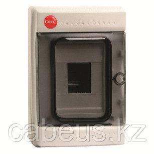 DKC / ДКС 85604 Щиток настенный 1 ряд, 4 модуля, с прозрачной дверцей, без клеммных колодок, IP65, цвет серый