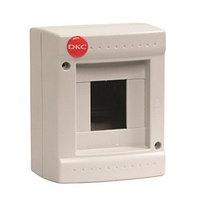 DKC / ДКС 82004 Щиток настенный 1 ряд, 4 модуля, без дверцы, без клеммных колодок, IP20, цвет серый RAL 7035