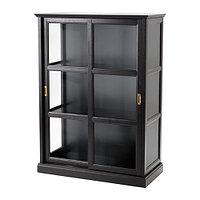 Шкаф-витрина МАЛЬШЁ черная морилка ИКЕА, IKEA
