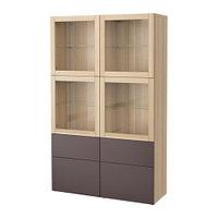 Шкаф-витрина БЕСТО под беленый дуб  темно-коричневый ИКЕА, IKEA , фото 1