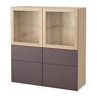 Шкаф-витрина БЕСТО под беленый дуб ИКЕА, IKEA , фото 1