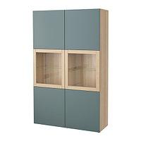 Шкаф-витрина БЕСТО под беленый дуб, Вальвикен серо-бирюзовый ИКЕА, IKEA