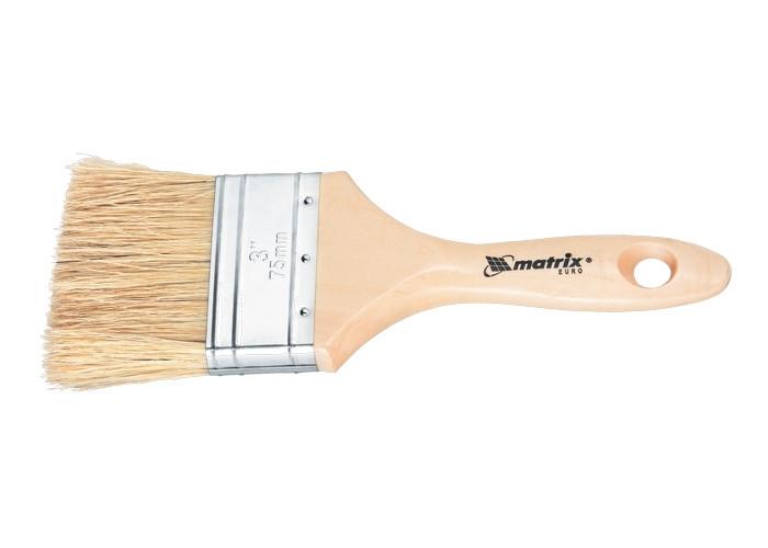 """(83056) Кисть плоская """"Евро""""  3"""", натуральная щетина, деревянная ручка// MATRIX"""