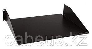 "Hyperline TASS-250-RAL9004 Полка угловая сплошная 19"", 1U, ширина 444 мм, глубина 267 мм (до 25 кг), цвет"
