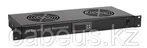 """Hyperline TRFA-MICR-2F-RAL9004 Модуль вентиляторный 19"""", 1U, глубиной 170мм, с термостатом и 2-я"""