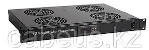 """Hyperline TRFA-MICR-4F-RAL9004 Модуль вентиляторный 19"""", 1U, глубиной 290мм, с термостатом и 4-я"""