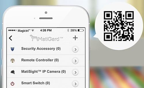 """Подключение камеры к сигнализации """"MatiGard Air"""" осуществляется считыванием QR-идентификатора с помощью приложения """"Magictrl"""""""