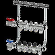 Коллектор 4 контура, с клапанами, без фитингов