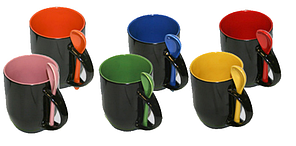 Кружки для сублимации «хамелеон» с ложкой (меняет цвет при нагреве)