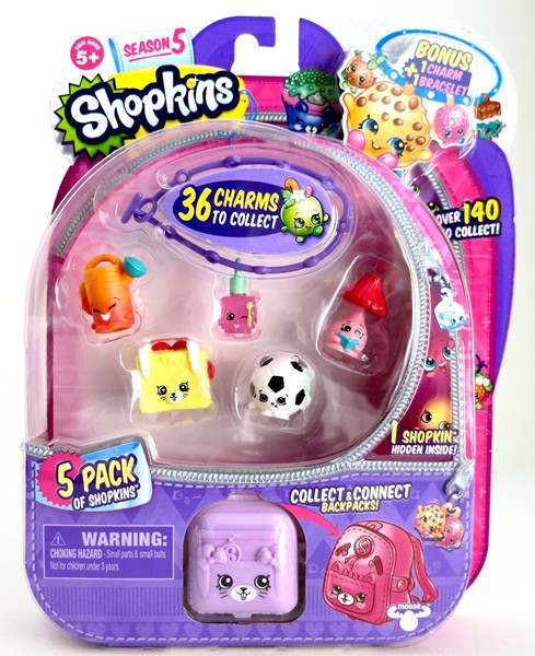 Shopkins, Шопкинс (5 сезон) 5 игрушек в упаковке + подвеска-браслет