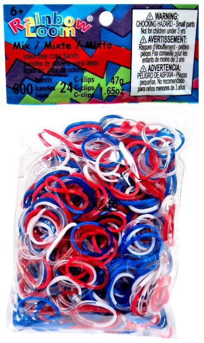 LOOM 0714 Набор резинок для плетения, красный, синий, белый (Патриот)