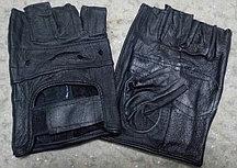Перчатки для фитнеса и тренажеров, турника мужские (без пальцев) на липучке