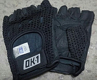 Перчатки для фитнеса и тренажеров, турника мужские (без пальцев) кож.зам