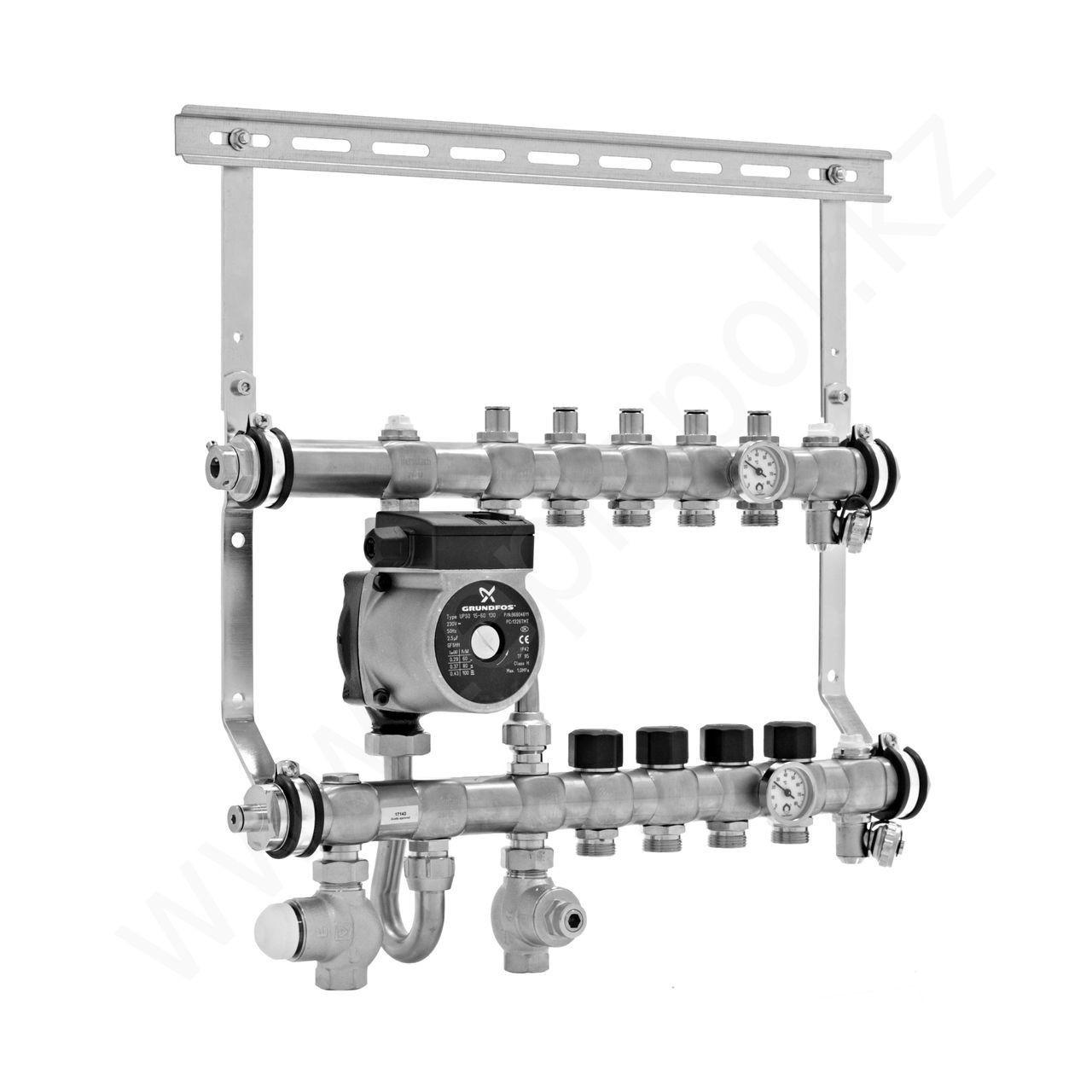 Интегрированный коллектор со смесительным узлом, 9 контуров