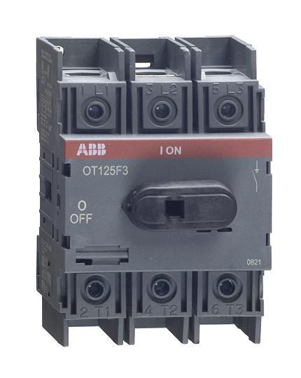 1SCA105033R1001 Рубильник OT125F3 до 125А 3х-полюсный для установки на DIN-рейку или монтажную плату (с