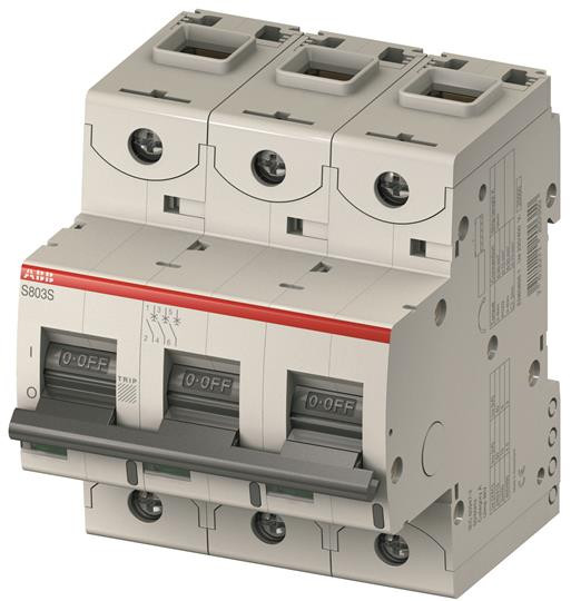 2CCS883001R0804 Автоматический выключатель ABB,S803C-C80  3P 80А (С) I cn=15 кА I cu=25 кА