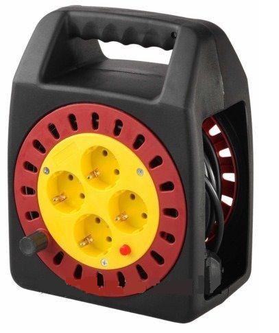 (SV-55081-10) Удлинитель СВЕТОЗАР электрический с заземлением на катушке, евро, 4 гнезда, 10м