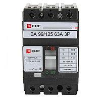 Автоматический выключатель ВА-99 125/63А 3P 25кА EKF PROxima
