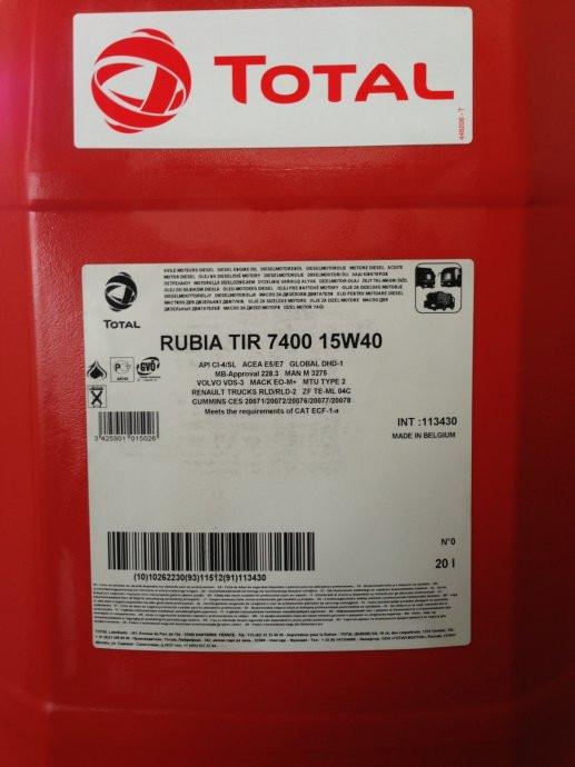 Total RUBIA 7400 15w40 масло для современных грузовиков 20л.