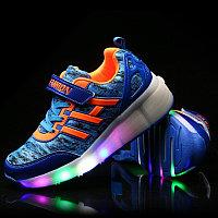 Кроссовки на роликах с подсветкой, голубые fashion, фото 1