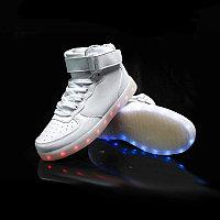 LED Кроссовки со светящейся подошвой, белые высокие, размеры 36-41, фото 1