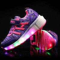 Кроссовки на роликах с подсветкой, фиолетовые, fashion, фото 1