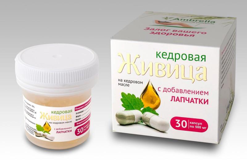 Капсулы «Живица кедровая на кедровом масле с добавлением лапчатки», 30шт*0,5гр