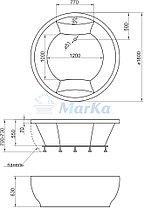 Акриловая гидромассажная ванна Омега 180x180 круглая, фото 2