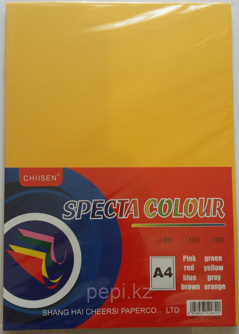 Бумага A4,80гр/100л. ярко желтый