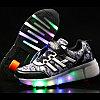 Кроссовки на роликах с подсветкой, черные, fashion