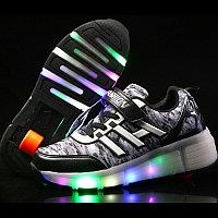 Кроссовки на роликах с подсветкой, черные, fashion, фото 1