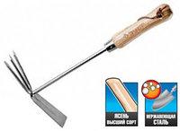 """Мотыжка ЗУБР """"ЭКСПЕРТ"""" комбинированная из нерж. стали, деревянная ручка из ясеня, прямое лезвие + 3 зубца,"""